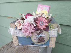 Reclaimed wood box for unique Easter basket! Tim Holtz stamp, Prima flowers, white burlap & shredded vintage hymn music...