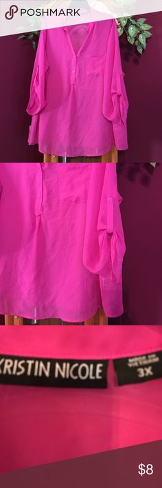 Hot pink sheer blouse with cuffed sleeves Preowned- mild wear Kristen Nicole Tops Blouses