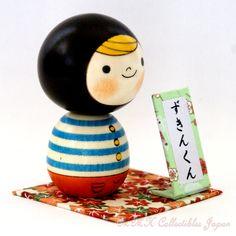 Lovely Creative Kokeshi Doll ZUKIN-KUN (MR. HOOD) by Usaburo   卯三郎作 創作こけし「ずきんくん」です。私のハンドクラフトの銘板と台座付けてみました。