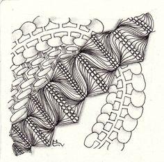 Ein Zentangle aus den Mustern Allee, Loave It, Segundo, gezeichnet von Ela Rieger, CZT