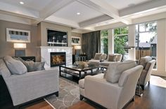 love this room (ceiling & fireplace)
