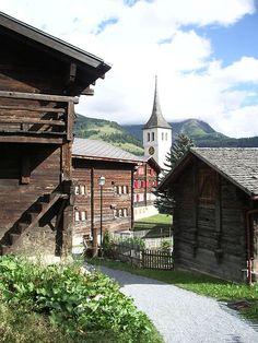 Bellwald, in the canton of Wallis Alpine Chalet, Swiss Chalet, Mountain Village, Mountain Homes, Switzerland Bern, Saas Fee, Old Churches, Zermatt, Going Home