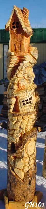 Huge Gnome Home Carving Chainsaw Carving,  Not Brandon's but just as good! #Woodcarvings