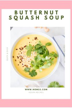 It is butternut squash season! Time to whip up lots of healthy and delicious recipes like this Easy Butternut Squash Soup! This nutrient-dense autumn vegetable is an excellent source of fibre, calcium, magnesium and Vitamins A, C, E and B. Just three tablespoons of cooked butternut squash counts as one of your five a day! #butternutsquashsoup #autumnsoup #soupforcoldweather #souprecipe #butternutsquashrecipes #vegansouprecipes #healthysouprecipes #instanomss Healthy Soup Recipes, Curry Recipes, Quick Recipes, Quick Easy Meals, Delicious Recipes, Vegan Recipes, Yummy Food, Vitamix Blender, Calcium Magnesium