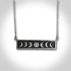 Sterling Silver Moon Phase Necklace by IvyandGoldHandcraft on Etsy, $61.00