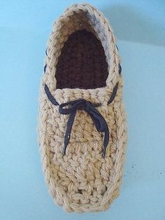 Stylish Men's Crochet Slippers. Designed by Hectanooga on Etsy    #3CC  This crochet pattern is easy to follow and straight forward.  Make some for gifts or for yourself.  Crochet Pattern by Emi from Hectanooga.