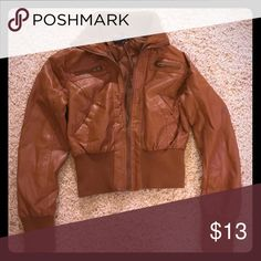 Light Brown Leather Jacket Ambiance apparel jacket, size medium. Super cute to wear with dresses or jeans. I got a lot of compliments on this jacket!! Ambiance Apparel Jackets & Coats Utility Jackets