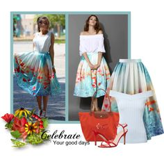 Chicwish Poppy Skirt by barbarapoole on Polyvore featuring moda, Jane Norman, Chicwish, SJP and Longchamp