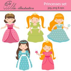 This adorable Little princesses clipart set comes with 5 beautiful graphics.     All graphics are made in High Quality 300 dpi and come in JPG, PNG & EPS format.