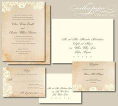 Lace Wedding Invitation - Vintage Lace - Lace Wedding Invitation - Vintage Lace  Repinly Weddings Popular Pins