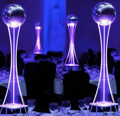 Disco ball with illuminated base centrepiece, great for a Bar Mitzvah