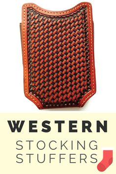 Western Tan Basketweave Open Top Cell Phone Case