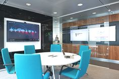 Small meeting room with big screen tv and writing walls