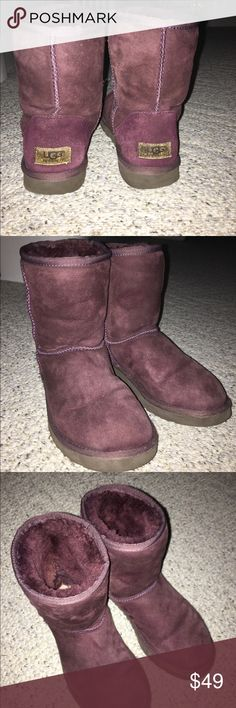 Burgundy short UGGS These uggs have been worn many times but are in decently good condition UGG Shoes Ankle Boots & Booties