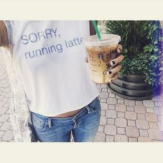 Sorry running latte The Laundry Room T-Shirt Called the best Tshirts by Glamour magazine this t shirt is simply perfect! Muscle fit, with print inside out that reads: sorry running latte. Slightly ripped at the hems for a vintage look. Tlroom Tops Tees - Short Sleeve