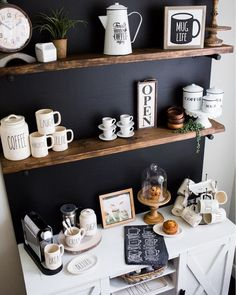 Coffee bar, chalkboard wall, Rae Dunn, coffee station, coffee decor, DIY chalkboard wall, coffee