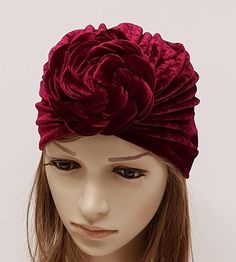 Top knot turban for women, front knot turban, velvet rosette turban, large donut turban hat, velvet turban hat by accessoriesbyrita on Etsy Turban Hat, Head Accessories, Crochet Baby Booties, Cute Woman, Top Knot, Rosettes, Head Wraps, To My Daughter, Velvet