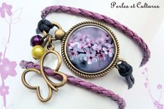 Bracelet retro ღ 3 Rangs ღSakura ღfleurs de cerisier ღ fleur d'été ღ cabochon ღ verre ღ violet rose noirღ fleurs ღ feuilles : Bracelet par perlesetcultures