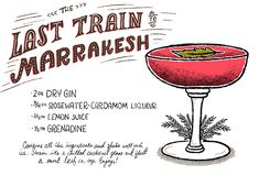 The Best Cocktail Recipes of 2014: http://ohsobeautifulpaper.com/2015/01/best-of-2014-the-best-cocktail-recipes/ | The Last Train to Marrakesh | Illustration: Shauna Lynn #OSBPhappyhour