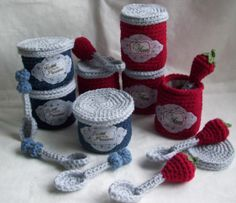 Play Kitchen Crochet Jam Jar and Spoon | We think each one is simply yummy; The fruit topped spoons are the perfect touch. Take a look!