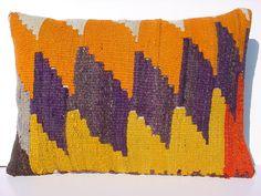 MODERN Bohemian Home Decor,Handwoven Turkish Rug Kilim Lumbar Pillow Cover 20 X 14,Decorative Kilim Pillow,Lumbar Rug Pillow,Throw Pillow via Etsy