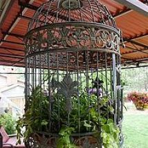 everything is planted and placed gardening outdoor living ponds water features Birdcage filled everything is planted and placed gardening outdoor living ponds water features Birdcage filled Click The Link For See Birdcage Planter, Birdcage Decor, Garden Art, Home And Garden, Garden Ideas, Outdoor Living Rooms, Deco Floral, Bird Cages, Flower Planters