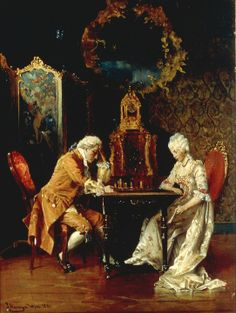 HAMZA Johann (1850 – 1927) The Chess Game. 1881