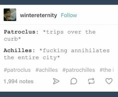 Patrochilles<—- I mean if I had a gf I would do this too. Roman Mythology, Greek Mythology, Achilles And Patroclus, Greek Memes, History Memes, Art History, Hades And Persephone, Greek Gods, Book Fandoms