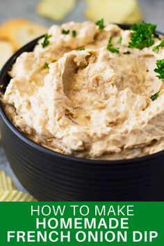 Don't buy that store bought dip again but make this homemade french onion dip instead! It tastes way better and you can pronounce all the ingredients! Easy Appetizer Recipes, Best Appetizers, Dip Recipes, Smoothie Recipes, Homemade French Onion Dip, Salsa, Tasty Bites, Black Bowl, Just For You