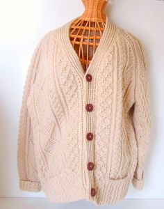Vintage Fisher Knit Cable Knit Cardigan by nanascottagehouse, $75.00