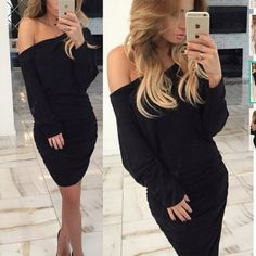 Long Sleeve Off The Shoulder Bodycon Dress