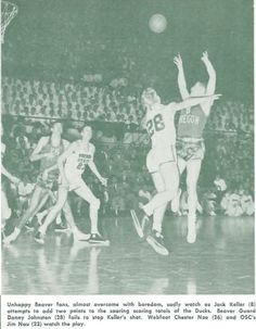 1951 Oregon State-Oregon basketball game in Corvallis. From the 1951 Oregana (University of Oregon yearbook). www.CampusAttic.com