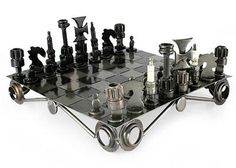 Unique Recycled Auto Part Chess Set - Recycling Challenge | NOVICA