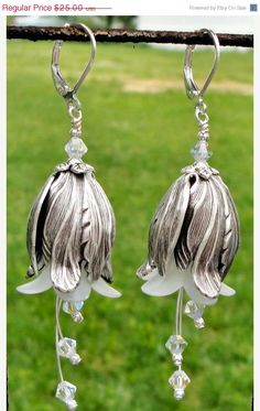 Valentines Day Sale White and silver earrings by thepinkmartini, $20.00
