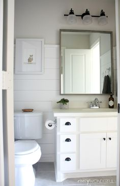 I started in on the kids' bathrooms back in February. Shiplap was the name of the game. I'm convinced there isn't much that a little sh...