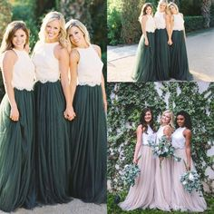Two Tone Lace Crop Country Long Bridesmaid Dresses 2018 Hunter Green Plus Size Junior Maid of Honor Wedding Party Guest Gowns Mermaid Wedding Dress Rose Gold Sequin Dress Country Bridesmaid Dress Online with $99.43/Piece on Kazte's Store   DHgate.com #bridesmaiddresses