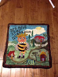 Primitive Hooked Rug folk art hand hooked rug hooking wool