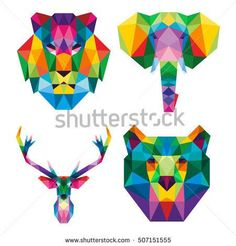 POLYGON TRIANGLE ANIMAL LION ELEPHANT REINDEER BEAR POP ART POLYGONAL LOGO ICON TEMPLATE