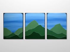 Original Triptych Mountain Range Silhouette Landscape  Painting - Green, Blue Acrylic Canvas Texture Abstract Modern Wall Art Home Decor