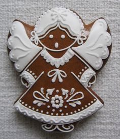 Fancy Cookies, Holiday Cookies, Sugar Cookies, Gingerbread Man Cookies, Christmas Gingerbread, Christmas Angels, Christmas Holidays, Angel Cookies, Winter Treats