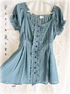 pretty vintage style blue linen / chambray button down peasant blouse with lace and ruffle embellishments