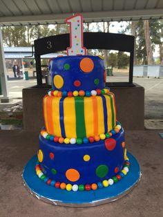 3 tier , first Birthday cake