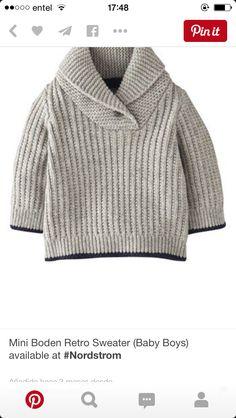 Image - Mini Boden Retro Sweater for Baby Boys Crochet For Boys, Knitting For Kids, Baby Knitting Patterns, Boy Crochet, Crochet Jumper, Free Knitting, Little Boy Fashion, Baby Boy Fashion, Kids Fashion