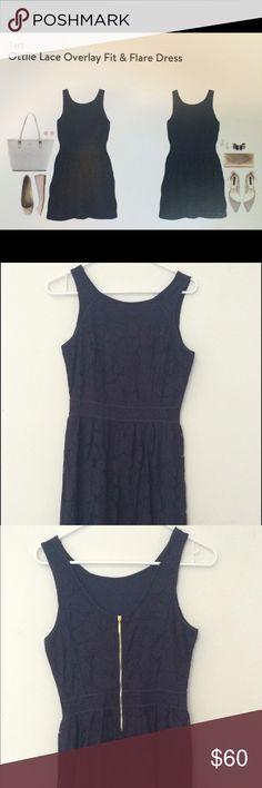 Stitch Fix Tart lace dress Navy blue tart lace dress whit gold exposed zipper Tart Dresses