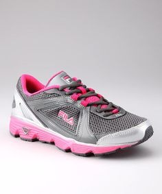 Take a look at this Fila Gray & Pink DLS Circuit Running Shoe - Women by Smart Steps: Fitness Footwear on #zulily today!
