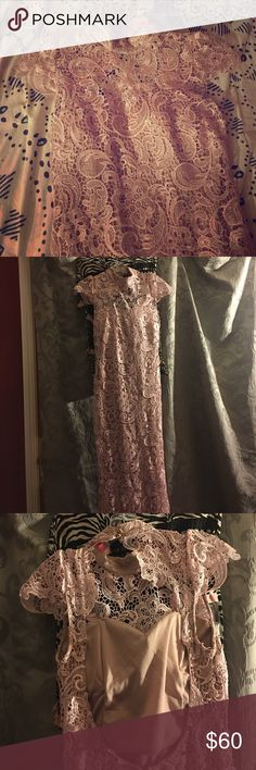 The party's over for me. But not for you! Pink lace cap sleeve backless gown WINDSOR Dresses Prom