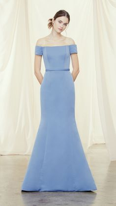 Blue off the shoulder fit and flare designer bridesmaid dress from Amsale Bridesmaids  #bridesmaiddresses