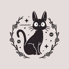 Quick Jiji design before starting a bunch of new projects for this month! Kiki's Delivery Service is probably my most watched Ghibli movie so it was about time I drew something for it! Tatuaje Studio Ghibli, Art Studio Ghibli, Studio Ghibli Tattoo, Tattoo Studio, Totoro, Kiki Delivery, Kiki's Delivery Service Cat, Ghibli Movies, Hayao Miyazaki