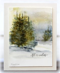 Have been playing with watercolors on this card!     Used the tree stamp from Penny Black     Prancers         Thanks!