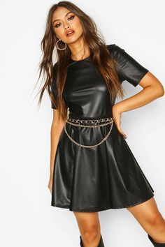 Faux Leather Short Sleeve Skater Dress | boohoo Skater Dress, Dress Up, Leather Shorts, List Style, Bodycon Fashion, Boohoo, Dress To Impress, Evening Dresses, Sleeves